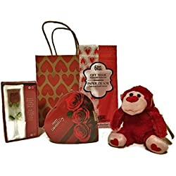 Valentine Day Gift Set, Plush Gorilla, Chocolate Candy and Glass Rose with Tissue Paper and Gift Bag (Red Gorilla)