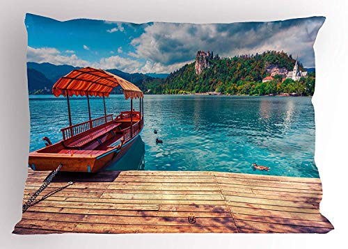 K0k2t0 Nature Pillow Sham, Slovenian Island Paradise Summer Sea Coast Tranquil Village Town Scenery, Decorative Standard Queen Size Printed Pillowcase, 30 X 20 inches, Sand Brown Turquoise]()