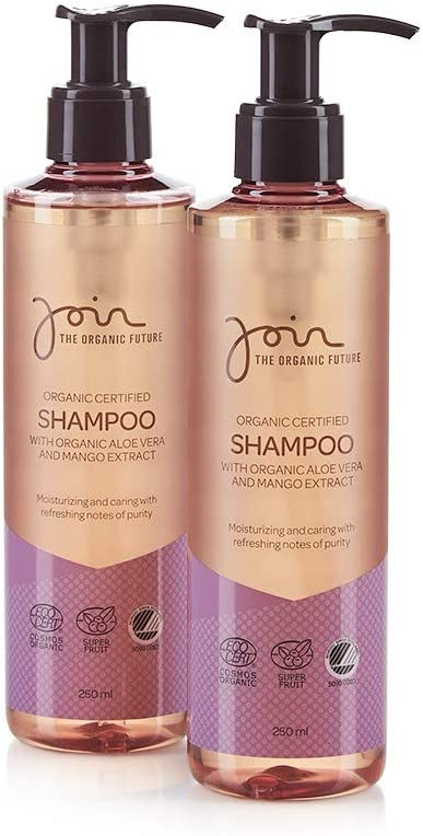 Join Organic Certified Shampoo with Aloe Vera & Mango Extract - Pack of 2 bottles with each 250 ml.: Amazon.es: Belleza