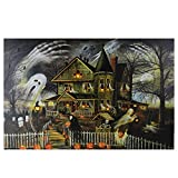Northlight Large Creepy Haunted House Canvas Wall Art, Orange