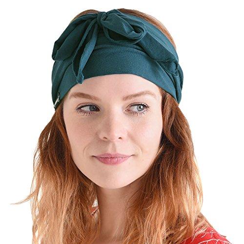 Ladies Scarf 1960s - CHARM Men Hippie Japanese Headband - Women Hair Band Boho Bohemian Head Wrap Pirate Bandana Blue Green