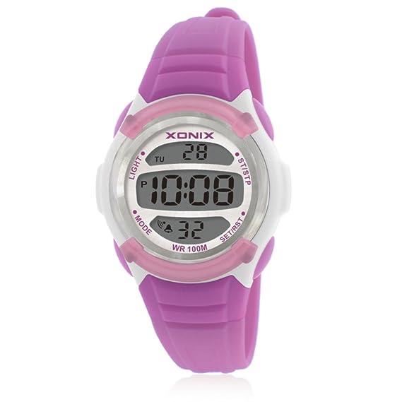 Reloj de niños led digital tiempo luminoso impermeable multifunción chica niño estudiante reloj digital-G: Amazon.es: Relojes