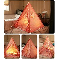 Miyaya Kids Teepee Tent,Children Tent Indian Pyramid with Floor Mat & Carry Case,LED Light Indoor Outdoor Teepee Tent for Girls and Boys Play Tent Childrens Room Decor Baby Toy Marine