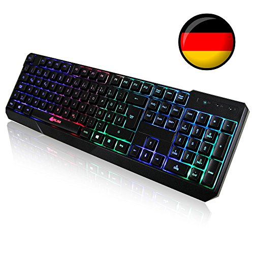 KLIM Chroma Tastatur Gamer QWERTZ DEUTSCHE mit USB-Kabel - Hohe Leistung - bunte Beleuchtung Gaming Tastatur