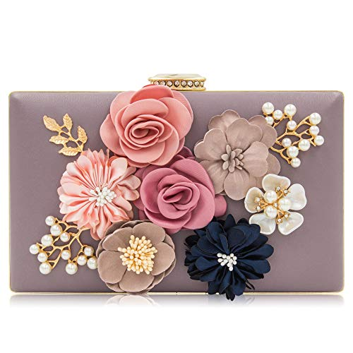 Milisente Women Flower Clutches Evening Bags Handbags Wedding Clutch Purse (Violet)
