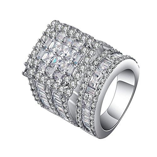 Ginger Lyne Collection Camilla II Stunning Engagement Wedding Ring and Band Bridal Set