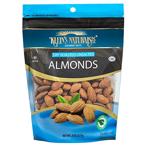 Kleins Natural's Dry Roasted Unsalted Almonds, Almond Nuts, Fresh Raw Almonds are Dry Roasted To Perfection and Unsalted, Dry Roasted Almonds, Quick Healthy Snacks, 8-Ounce (Pack of 4) by Unknown