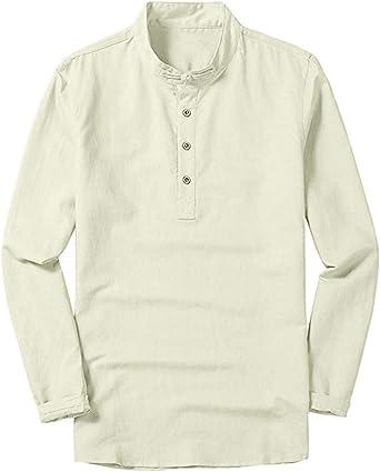 Longra Invierno Otoño Paño Hombre Fresco y Delgado Collar Transpirable Colgante Gradiente Camisa de algodón de Manga Larga: Amazon.es: Relojes