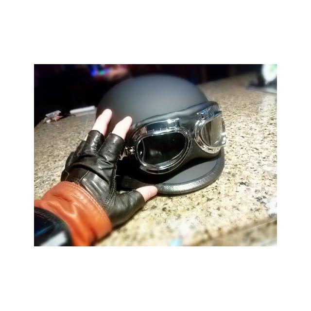 Flat Matte Black German Style Motorcycle Cruiser Touring Scooter Half Helmet DOT with Pilot Goggles (Medium) Automotive