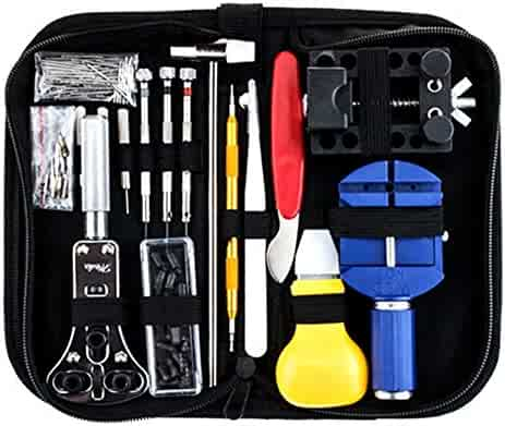 147 PCS Watch Repair Tool Kit Watch Fixing Tool Professional Watch Band Link Pin Tool Set Spring Bar Tool Set Opener Remover Kits with Carrying Case (147PCS)
