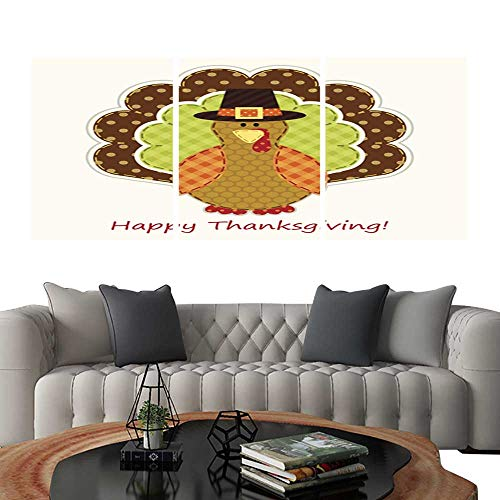 UHOO Pictures Paintings on Canvas WallCute Thanksgiving Turkey as Retro Fabric Applique in Traditional colors2. Brick Wall Stickers 16