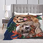 Yulimin Merry Christmas American Cocker Spaniel Dog Full Fleece Throw Cloak Wearable Blanket Nursery Bedroom Bedding Decor Decorations Queen King Size Flannel Fluffy Plush Soft Cozy Comforter Quilt 9