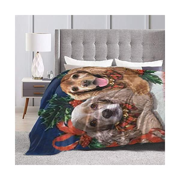 Yulimin Merry Christmas American Cocker Spaniel Dog Full Fleece Throw Cloak Wearable Blanket Nursery Bedroom Bedding Decor Decorations Queen King Size Flannel Fluffy Plush Soft Cozy Comforter Quilt 4