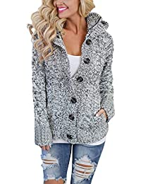 Women's Hooded Cable Knit Button Down Cardigan Sweaters Fleece Jackets(7 Color,XS-XXL)
