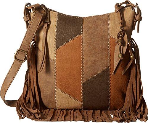 Suede Patchwork Bag (Jessica Simpson Women's Delilah Patchwork Top Zip Crossbody Neutral Patchwork Crossbody)
