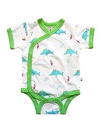 Babysoy 100% Organic Cotton Dolphin Short Sleeve Kimono Onesie/Bodysuit