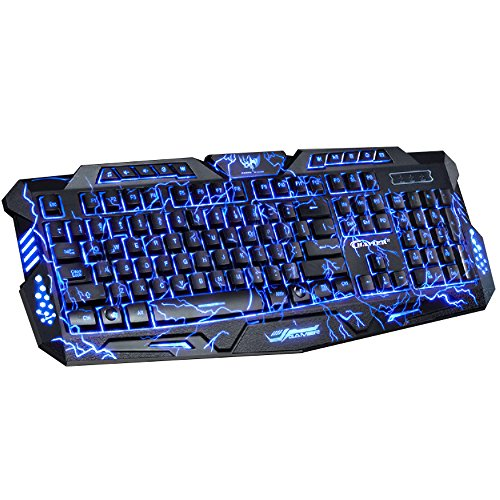 Backlit gaming keyboard, BAVIER Laser carving characters keyboard,Wired Backlighting Keyboard,114keys Ergonomic keyboard, Adjustable Backlight Red Purple Blue, Switchable Crack Backlit (Black) - Gaming Keyboard Ergonomic