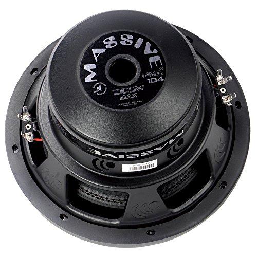 Massive Audio MMA104 MMA Series. 10 Inch, 1000 Watt, Dual 4 Ohm Car Subwoofer, 2.5 Inch Voice Coil. Sold Individually. ()