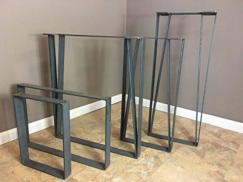 Set of ( 2) - 2 inch Flat Stock Legs 12''W x 16''H - Raw Metal Legs, Bench Legs, Table Legs, Steel Legs, Pair of Legs, Reclaimed Wood | SHIPS IN 48 HOURS FREE by Barn XO