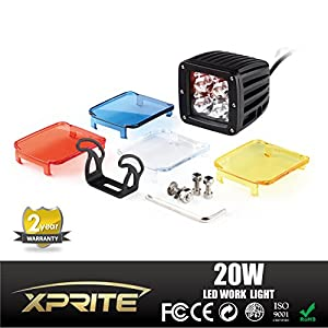 Xprite 20 Watt 3-inch Cube CREE High Power LED Work Lamp and Off-Road Light With Amber, Blue, Red, White Covers (4-Pack)