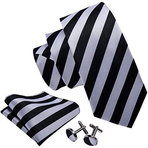 Barry.Wang Mens Tie Handkerchief Cufflinks Set Formal Business Grey Black