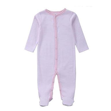 Hzjundasi Recién nacido Bebés Niñas Algodón Raya Footed Ropa de ...