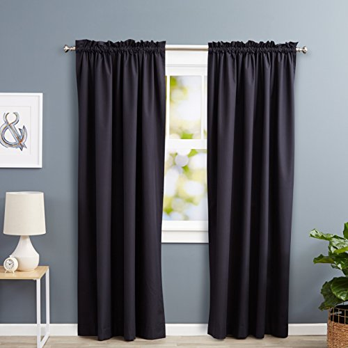 AmazonBasics Room Darkening Thermal Insulating Blackout Curtain Set with Tie Backs - 52 x 84 Inches, Black (2 Panels) (Set Curtain)
