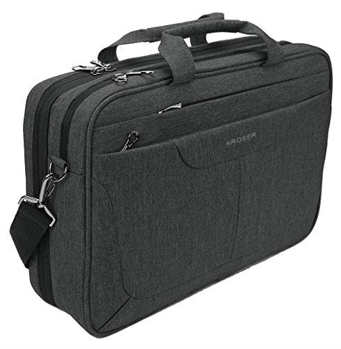 KROSER Laptop Bag 15.6 inch Briefcase Laptop Messenger Bag Water Repellent Computer Case Tablet Sleeve with RFID Pockets for College/School/Business/Women/Men-Charcoal (Front Slide Pocket)