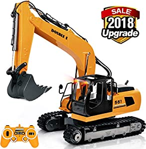 DOUBLE  E 1:16 Scale RC Truck Remote Control Excavator Tractor 17 Channel Construction Vehicle with Simulation Sound and Flashing Lights