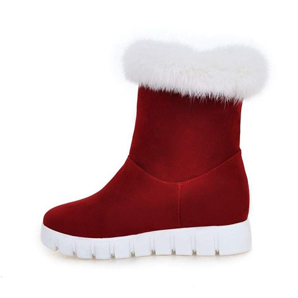 TWGDH Faux Suede Ankle Stiefel Ladies Ladies Ladies Warm Fur Lined Slip-On Round Toe Flat Schuhe Outdoor Walking Casual Snow Stiefelie  c10a72