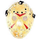 Edealing Máscara 2 piezas de oro de la vendimia Voorhees Freddy Hockey Festival partido de la mascarada de Halloween Jason