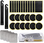Bike Tire Patch Repair Kit, 30 Pcs Bike Tire Patch, Glueless Self-Adhesive Patches with Metal Rasp&Box, fo