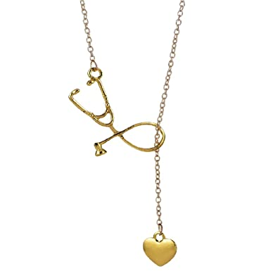 d6601f1f1 Amazon.com: JOYID Lovely Stethoscope Heart Pendant Necklace Lover Heartbeat  ECG Cardiogram Y-Style Creative Jewelry for Women-Gold: Jewelry