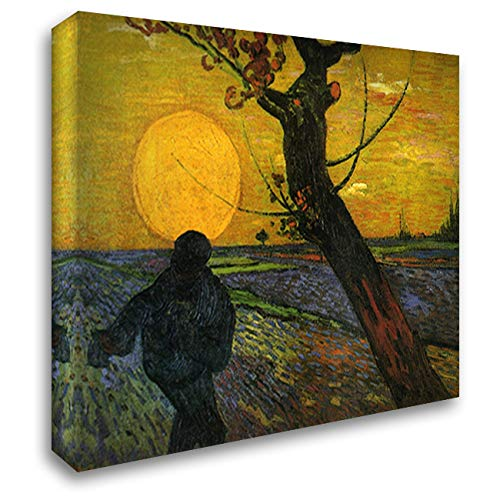 Sower with Setting Sun 24x20 Gallery Wrapped Stretched Canvas Art by Vincent Van Gogh (The Sower With Setting Sun Van Gogh)