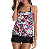 Yonique Women Two Pieces Tribal Floral Printed Tankini Sets with Boyshort