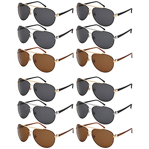 (12 Pack Classic Bulk Wholesale Polarized Metal Aviator Sunglasses for Men Women UV400 N5154-P)