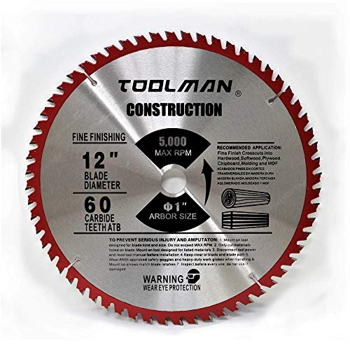 Toolman Circular Saw Blade Universal Fit 12'' x1'' 60T Carbide Tip Table Miter Cutting For Wood works with DeWalt Makita Ryobi by Toolman 47