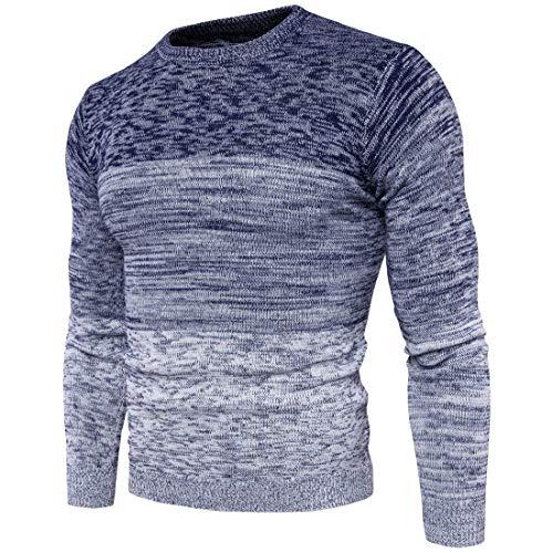 Los Color Único De Punto Degradado BIRAN Jersey Azul Invierno De Otoño Hombres De Jersey TwSUqEBfxq