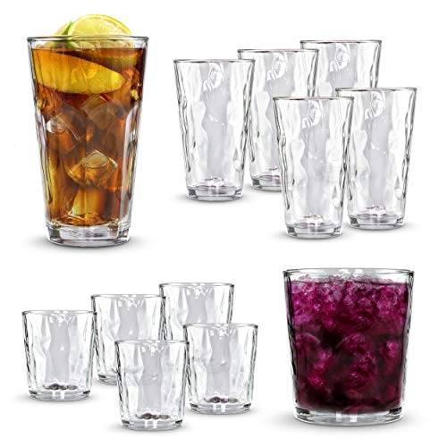 - Clear Drinking Glass 12-pc Set - 6 Heavy Based Highball and 6 Double Old Fashioned Glassware for Whiskey, Scotch, Juice - Ideal for Dinner, Parties, and Special Events