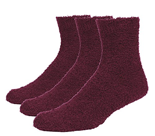 Fitu Men's Soft Warm Cozy Fuzzy Socks 3-pack With Gift Box (Wine Red)