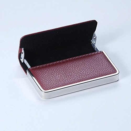 NOME Professional Business Card Wallet, Premium Bicast Leather and Stainless Steel Card Holder, Slim, Minimalist, Curved Hard Case with Magnetic Clasp – Maroon Hardside Business Cases