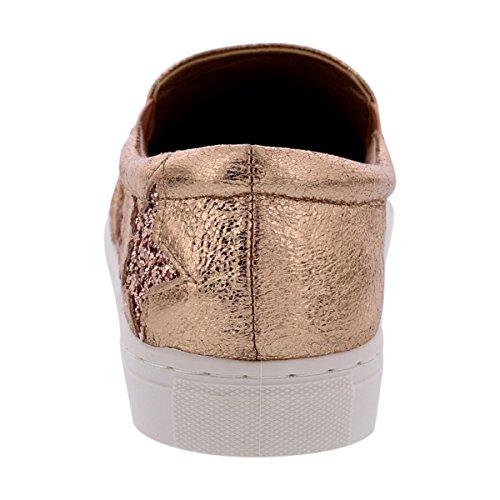 Via Pink Collectie - Dames Metallic Loopschoenen Met Sterren Loopschoenen / Sneaker - Champagne Champagne / Sterren