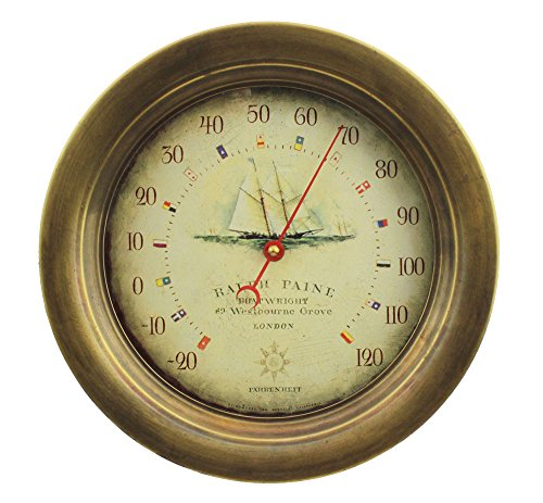 10.5''Dia Antiqued Brass Ralph Pain Wall Mount Thermometer by Nautical Tropical Imports