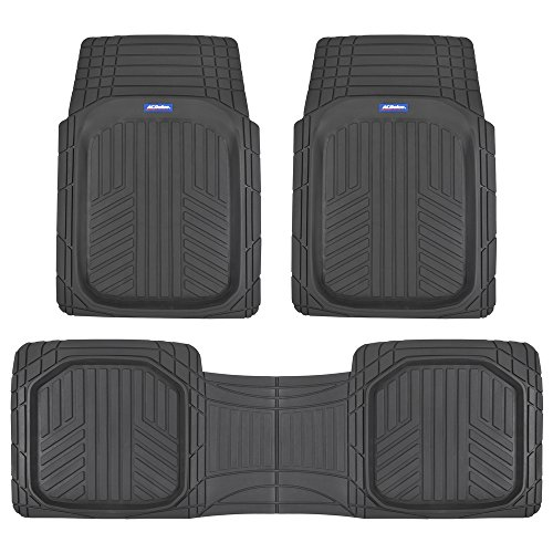 ACDelco ACOF-933-BK Black Deep Dish All-Climate Rubber Floor Mats for Car SUV Van Truck Heavy Duty Liners-3 Piece Set Thick, Odorless & All Weather