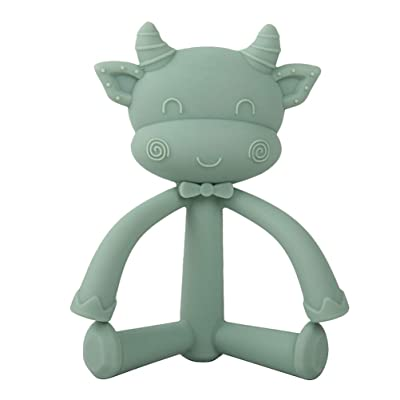 NUOBESTY Soft Silicone Soothing Teethers Toy Baby Teething Toys Safe Teether Massage for Babies Infant Toddler (Cute Cow): Toys & Games