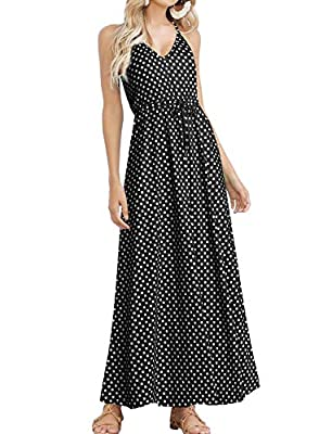 HUSKARY Women's Summer Casual Pockets Strappy Long Dress Loose Beach Cami Split Maxi Dress