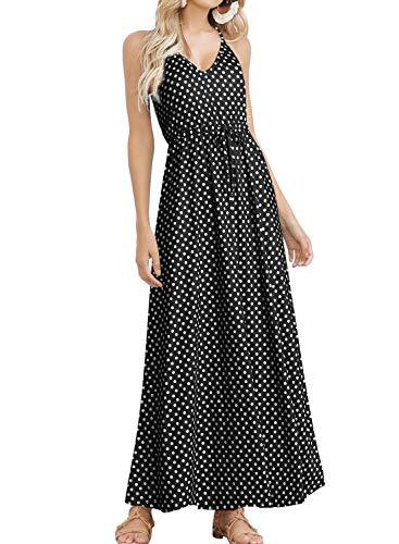 HUSKARY Womens Sleeveless V Neck Spaghetti Strap Pockets Polka Dot Print Beach Boho Tropical Summer Maxi Dress (Summer Maxi Dresses For Women)