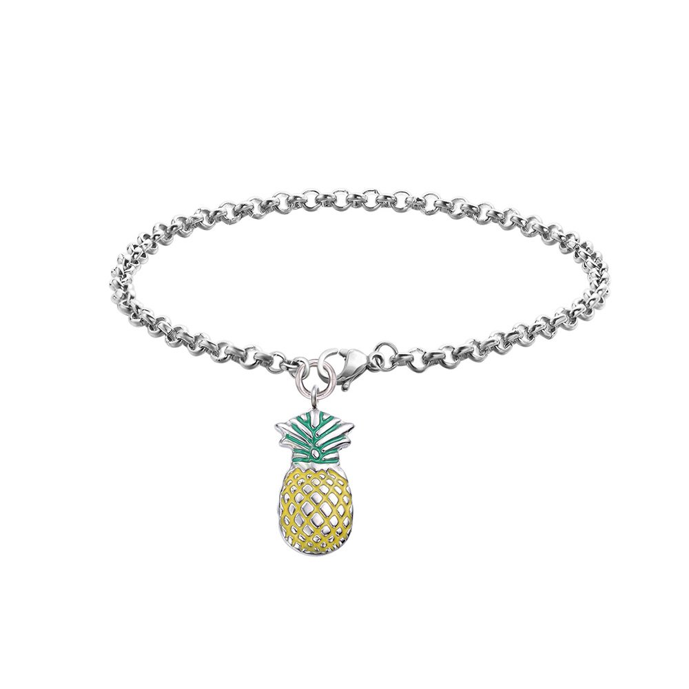 Dec.bells Cute Pineapple Fruit Charm Chain Link Bracelet for Girls Summer Holiday Jewelry Gift (Pineapple)