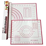 """Cofe-BY Silicone Pastry Mats Set of 2, Large 23.62"""" x 15.74"""" Small 11.41"""" x 10.23"""", Fondant Mat with Measurements, Non Stick Baking Mat for Rolling Dough, Sticks to Countertops (Red)"""