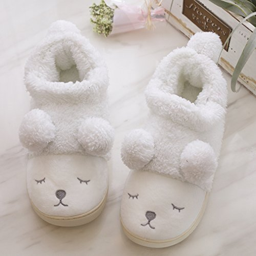 Lined Foam On Outdoor Clog Wool Indoor Women Animal Fleece Memory House Sheep Slippers Slip White Slippers Plush zXH0qBF